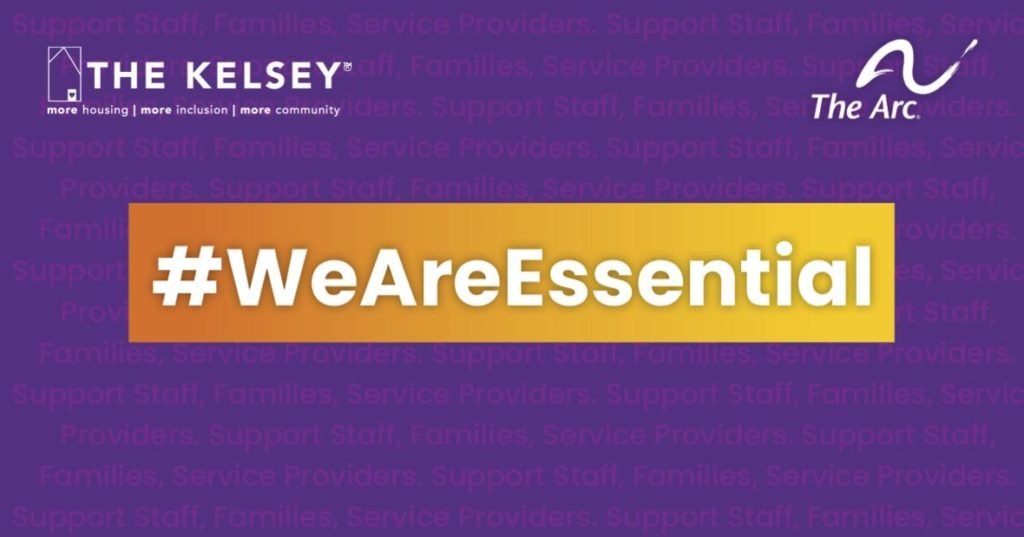 The Kelsey logo on a purple background with #WeAreEssential in white letter on yellow background. The Arc logo on top right.