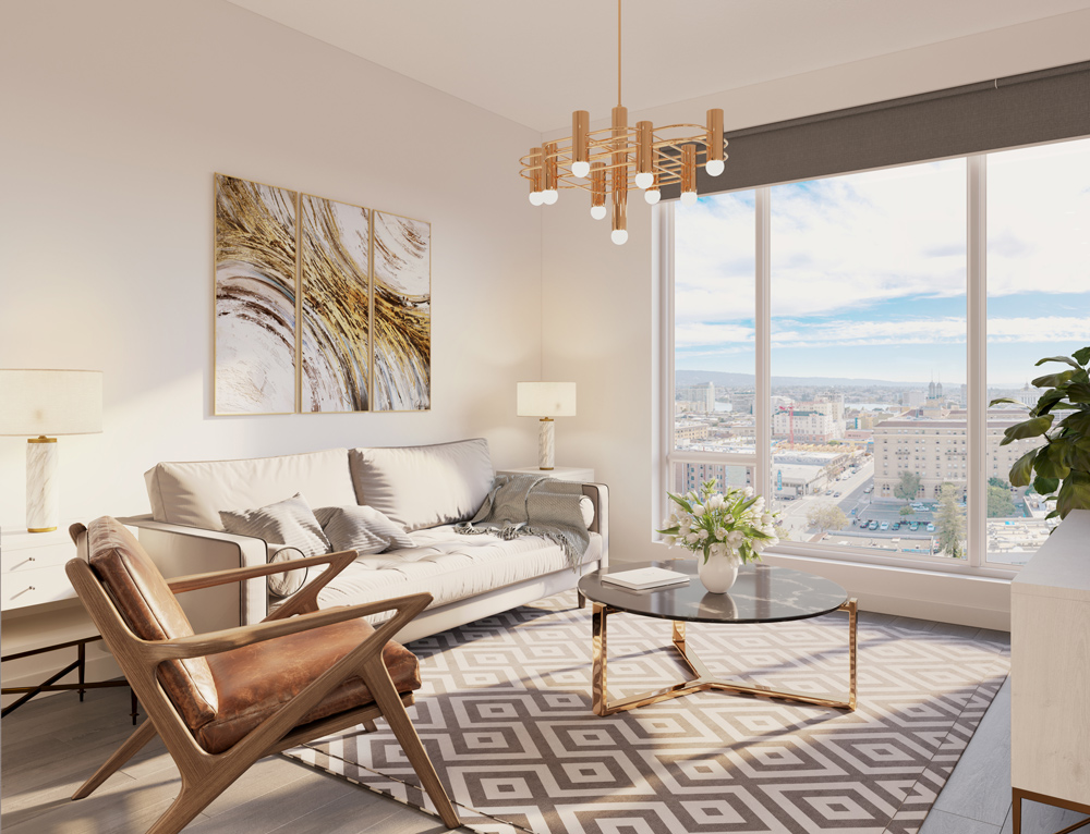 living room showing wall of glass windows overlooking downtown oakland. There is a small sofa and chair with two side tables, a round coffee table, pattern rug, art work behind sofa and bronze light fixture. Muted color palette with warm natural light coming through.