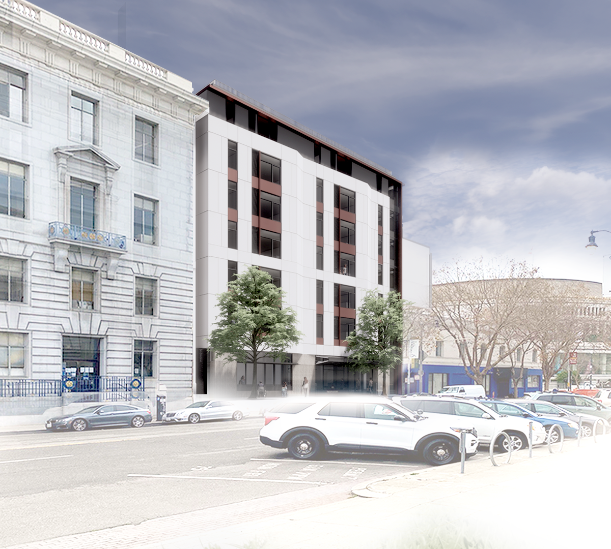 A rendering of a rectangular building on Grove Street in San Francisco with cars and street lights in the foreground and buildings, the symphony building, in the background.