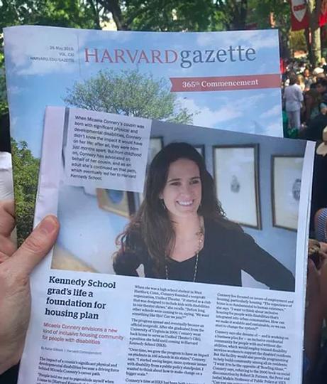 Micaela on front of Harvard Gazette