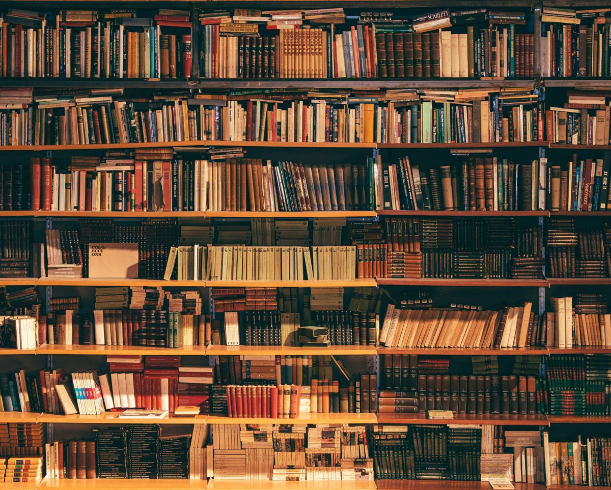 image of many books on multiple shelves on wall. No one is in this picture.