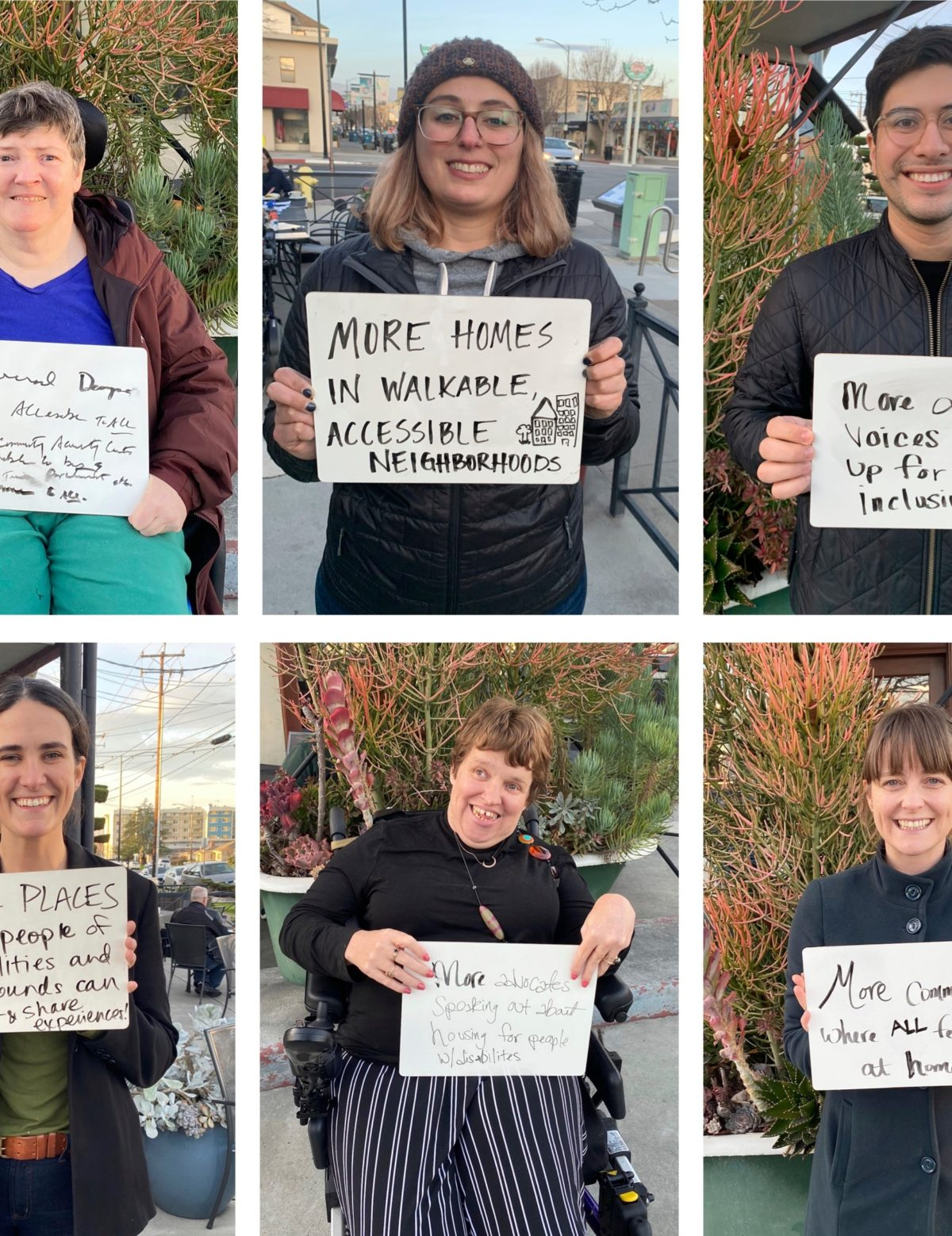Images of 10 people with signs that say what they want more of in their community.