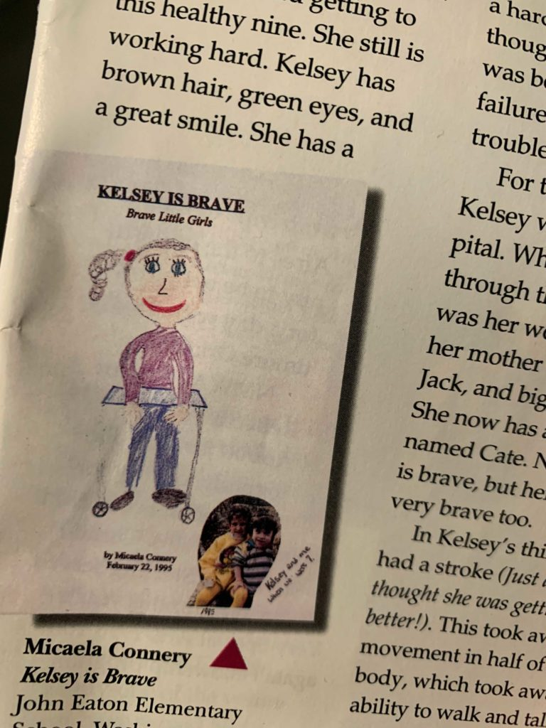 Drawing by 9 year old Micaela of Kelsey and picture of Micaela on bottom left. Magazine clipping shows sketch followed by story.