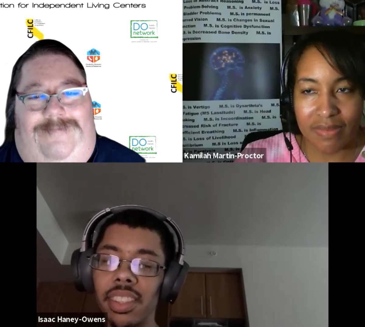 Three people with disabilities. Russel is a middle aged man at top left has a mustache and glasses, Kamila is on top right is a black middle aged woman wearing a headset. Isaac is a young adult man below wearing headphones and glasses with facial hair. Justin Tsang called in.