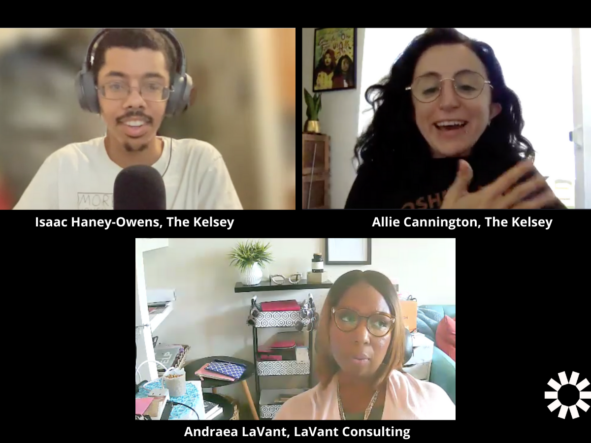 Image of Isaac, Allie and Andraea meeting virtually over Zoom. Isaac is a mixed race black man with short brown hair, glasses, grinning at camera. Allie is white disabled person smiling with her hands up. Andraea is a black disabled woman toward bottom of screen looking away from camera.